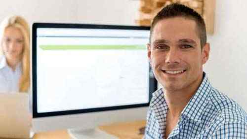 man enjoying online training course